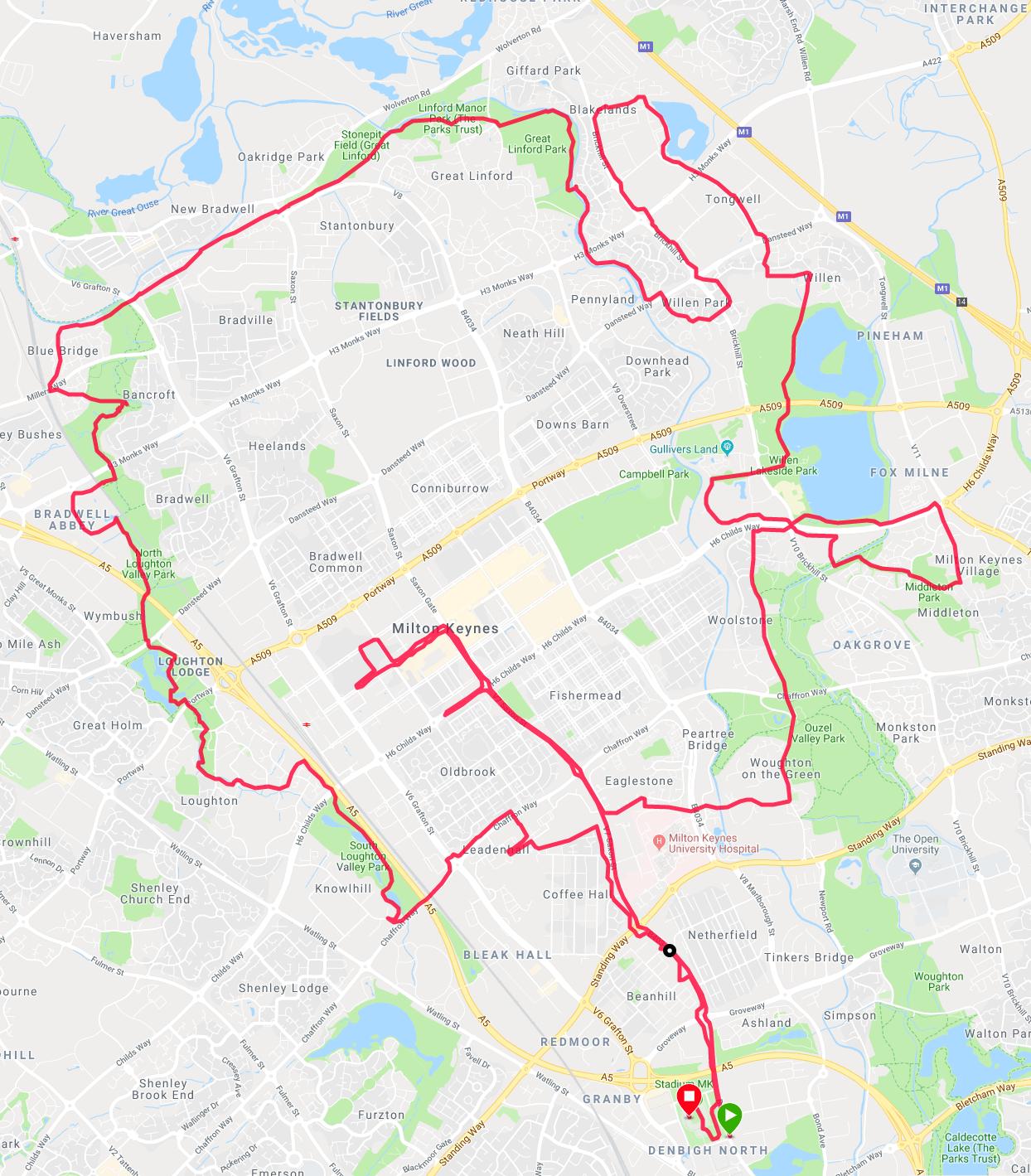 Marathon map, Milton Keynes